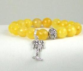 Yellow Moroccan Jade Bracelet with Palm Tree Charm and Yogi accent bead, Meditation Bracelet, Energy Jewelry, Free Shipping