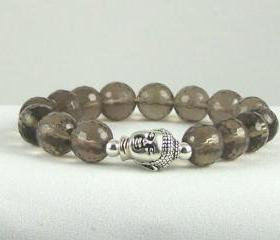 Neutralizing Smokey Quartz Meditation Gemstone Bracelet with Buddha bead, Yoga Bracelet, Great Gift Ideas, Free Shipping