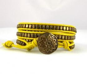 Bronze & Yellow Leather Wrap Bracelet with a Tribal closure, Yellow Bracelet, Leather Jewelry, All Sizes, All Colors, Free Shipping