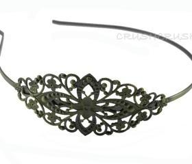  2pcs Antique Brass Filigree Metal headbands with bent end H10