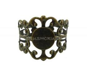 10pcs Antique Brass Filigree Adjustable Ring Blank Findings With Pad 8mm C49