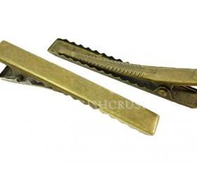  50pcs 45mm BRASS plated Alligator hair clip with Teeth C12