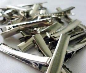 50pcs 45mm Silver plated Alligator hair clip with Teeth C3