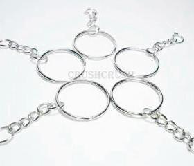100pcs 24mm Silver Split KEY RINGS With Chain C51x2