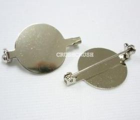 20pcs Silver Plated Flat Back Blank Round with Pin back.--13mm C66