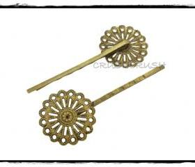 10pcs 1-3/32' (52mm) Antique Brass Filigree Bobby Pin Hair Clips 25mm Pad C54