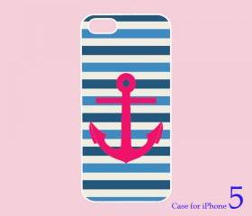 iphone 5 case-- Stripe Anchor, in black or white plastic case 