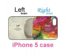 Iphone 5 case--left and right brain, durable plastic case in black or white