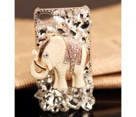 FREE SHIPPING iPhone 5 case Vintage rhinestone bling Crystals white Elephant back Cover for girls