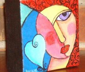 Funky Abstract Portrait of a Woman with a Heart on 4x4 Inch Wrapped Canvas