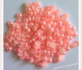 6mm light pink round half dome flatback pearl - 120 pcs