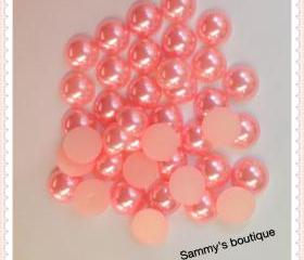 10mm light pink half dome flatback pearls - 30 pcs