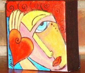 Funky Abstract Portrait of a Red Haired Woman with a Heart on a 4x4 Inch Wrapped Canvas