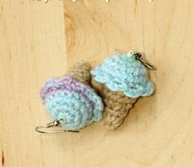 Crochet Ice Cream Cone Earrings PATTERN, SYMBOL DIAGRAM (pdf)
