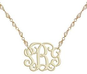 Monogram Necklace Pearl Beads Acrylic Necklace