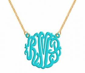 Monogram Necklace Acrylic Turquoise