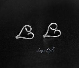 Heart Stud Earrings Silver Post Eco friendly small earrings Luxe Style