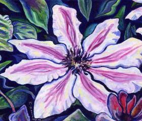 ORIGINAL acrylic painting on Canvas paper, matted - Nelly Moser, Clematis - 8' x 10'