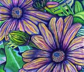ORIGINAL acrylic painting on Canvas paper, matted - Purple Daisies - 8' x 10'