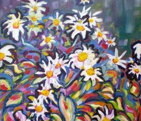 ORIGINAL acrylic painting on stretched canvas - Mom's Daisies - 12' x 16'