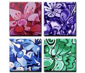 "4 ORIGINAL acrylic paintings on gallery wrapped canvas - Four Cherries - 24"" x 24"" x 1 3/4"""