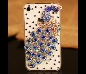 FREE SHIPPING best iPhone 4S 4 clear case rhinestones crystals Peacock bird Transparent cover