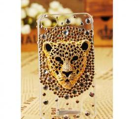 FREE SHIPPING iPhone 4S 4 Case Leopard Face Artificial Rhinestone Swarovski Bling Crystal Girly Clear Cover