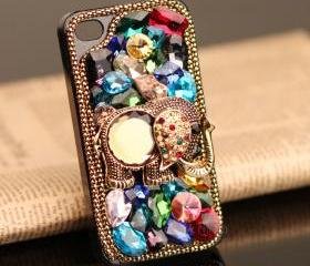 FREE SHIPPING iPhone 5 case Elepant old fashioned Bling Rhinestone Crystals Vintage Metal Animal Cover