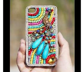 FREE WORLDWIDE SHIPPING iPhone 4S 4G case Swarovski Rhinestone Crystals beads Peacock Cover