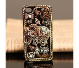 FREE WORLDWIDE SHIPPING iPhone 4S 4G case vintage old style elephant Rhinestone Crystals Cover