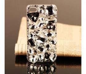 FREE SHIPPING iPhone 4S 4G clear rhinestones case bling swarovski crystals protective Cover