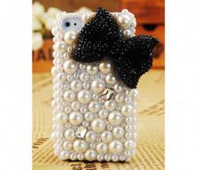 FREE SHIPPING iPhone 4S 4G Girly Black Bow Popular Pearl Rhinestone Crystals Back Case Cover