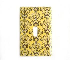 Yellow Dark Gray Switchplate Cover Case for Bedroom Kitchen or Living Room