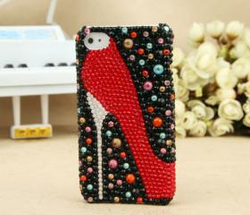 FREE SHIPPING iPhone 4S 4G Artificial Swarovski Rhinestone Bling Red Shoe Black Crystals Case