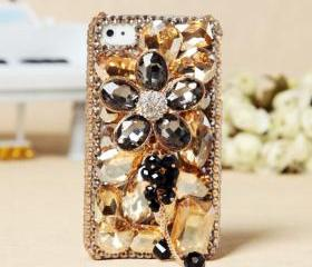 FREE SHIPPING iPhone 4S 4G Cute Stylish Girly Colorful Flower Rhinestone Crystals Back Case Cover
