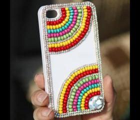 FREE WORLDWIDE SHIPPING iPhone 4S 4G case Rhinestone Crystals beads White cover