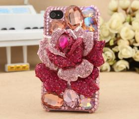 FREE SHIPPING iPhone 4S 4G Rhinestone Swarovski Bling Crystals Pink Rose Floral Case