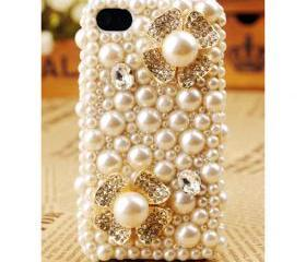 FREE SHIPPING iPhone 4S 4G Pearl Flower Artificial Rhinestone Crystals Case Cover for girls
