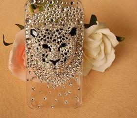 New Bling Leopard Head Tiny Crystals Clear iPhone 4S Case