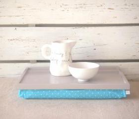 Laptop Lap Desk or Breakfast serving Tray - Soft grey with Aqua and White polka Dots - Custom Order
