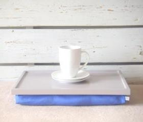  Breakfast serving or Laptop Lap Desk- Soft Grey with Blue Linen farbric- Custom Order