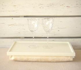  Laptop Lap Desk or Breakfast serving Tray - Off White with Ivory Jacquard fabric pillow with pattern- Custom Order