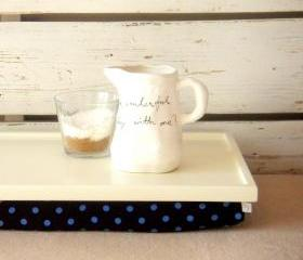 Wooden Laptop Lap Desk or Breakfast serving Tray - Ecru white with Black and Blue polka dot fabric - Custom Order