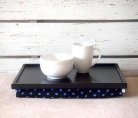  Wooden Laptop Lap Desk or Breakfast serving Tray - Black white with Black and Blue polka dot fabric - Custom Order