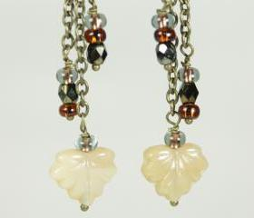 autumn leaf earrings golden yellow dangle