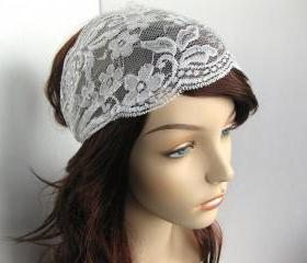 Wide Stretch Lace Headband Pale Ivory Off White Flowers Head Wrap Women's Hairband Traditional Head Covering