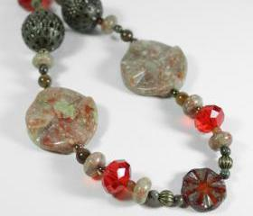 autumn fall inspired beaded necklace green brown orange