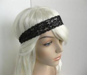 Stretch Lace Headband Black Flowers Head Wrap Women's Classic Hairband Hair Accessory