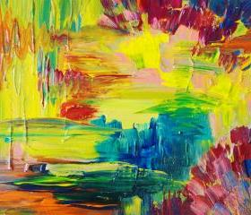 Abstract Acrylic Painting, Bright Bold Color 16 x 20 FREE SHIPPING Impasto Rainbow, Teal Blue, Neon Orange Yellow Magenta Xmas Gift