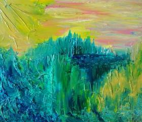 Dream Abstract Acrylic Painting FREE SHIPPING Impasto Landscape 16 x 20 Green Forest Trees, Nature Pink Yellow Peach Kelly Green Teal